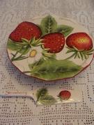 Strawberry Cake Plate and Server