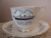 Vintage Queen Anne Teacup & Saucer - Car Ferry Bluenose Nova Scotia to Maine