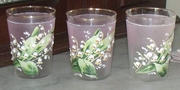 Hand pianted lily of the valley glasses