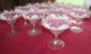 Frosted hand painted margarita style glasses QTY 12