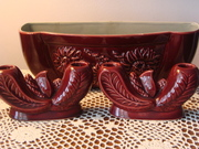 Red Wing Pottery Planter and Candle holder Set
