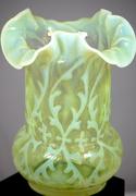 Antique English Yellow Vaseline Glass Fluted Vase Floral Leaf Design c.1890