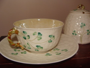 Belleek  Shamrock Tea cup & saucer with matching Sugar Bowl