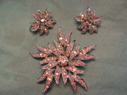 Sarah Coventry signed Rhinestone Flower Brooch and Earrings