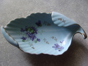 Hand painted Dish with Purple Violets