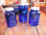 Cobalt blue salt and pepper shakers with sugar dispenser