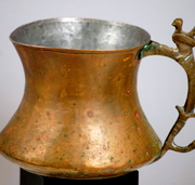 Antique Primitive  Copper Pitcher With Dove Tail Seams And Ornate Handle