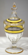 Glass Apothecary Style Candy Jar With Yellow Stripe