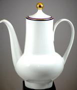 Vintage Bavarian Eschenbach White Porcelain Tea Coffee Pot With Blue And Gold Trim