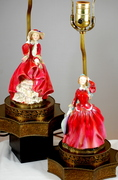 Royal Doulton Blithe Morning And Top Of The Hill Figurine Lamps