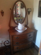 Late 1800's handmade oak dressing table wash stand with hanging mirror and OP Co China Pitcher and wash bowl