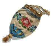 Antique Victorian Micro Beaded Reticule Bag