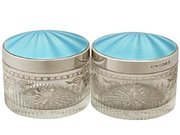Sterling Silver, Glass and Enamel Dressing Table Jar - Antique George V