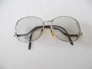 Vintage Oversized Eyeglasses, Silver Wire Frame, Drop Arm 70's , 80's