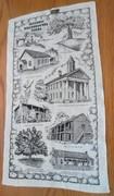 Vintage Kay Dee Handprints 100% Pure Linen Tea Towel Historic Nacogdoches Texas