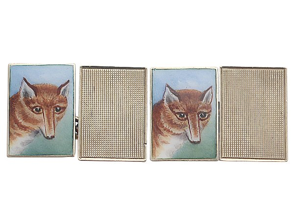 Cufflinks in Enamel and 9 ct Yellow Gold - 'Fox Head' - Antique 1932