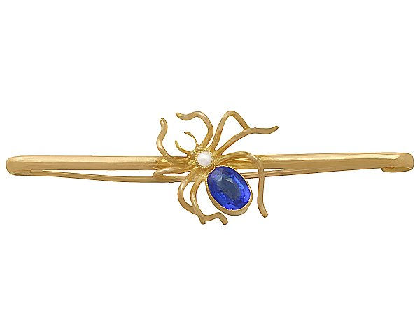 Pearl and Blue Coloured Glass, 9 ct Yellow Gold 'Spider' Brooch - Antique Circa 1890