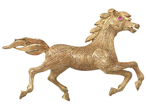 Ruby and 18 ct Yellow Gold 'Horse' Brooch - Vintage Circa 1960