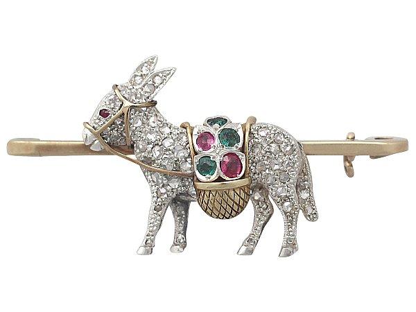 Diamond, Emerald, and Ruby, 9 ct Yellow Gold, Platinum Donkey Brooch - Vintage Circa 1940