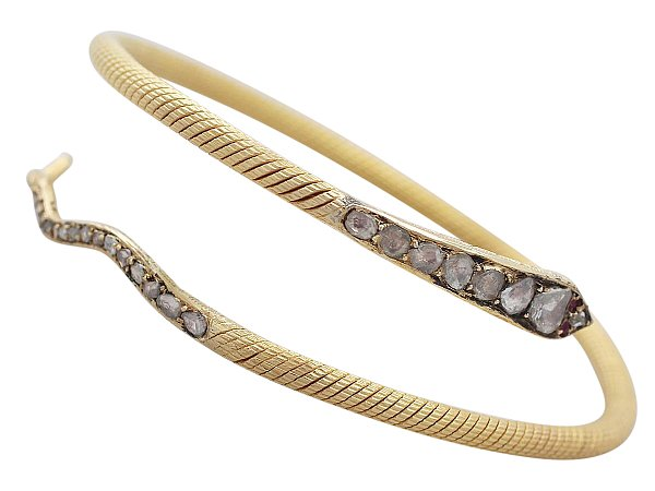 2.05 ct Diamond and 0.03 ct Ruby, 22 ct Yellow Gold 'Snake' Bangle - Antique Egyptian C1860