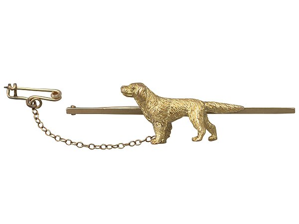 15 ct Yellow Gold 'Retriever' Bar Brooch - Antique Circa 1900