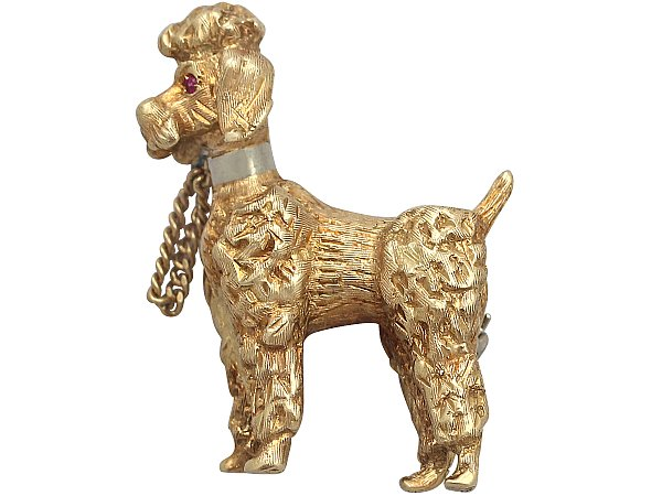 18 ct Yellow Gold 'Poodle' Brooch - Vintage Circa 1960