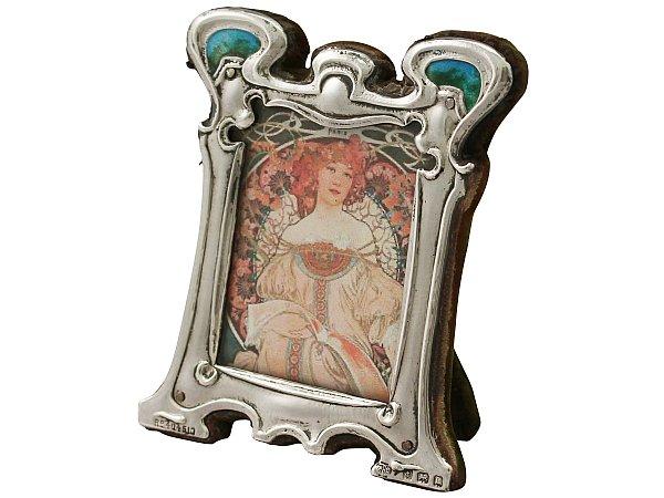 Sterling Silver and Enamel Photograph Frame - Art Nouveau Style - Antique Edwardian