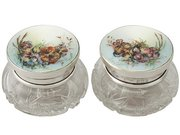 Pair of Sterling Silver, Cut Glass and Enamel Dressing Table Jars - Antique George V