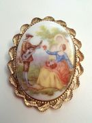 Vintage Brooch Porcelain Cameo Courting Couple Victorian Gold Tone 2x1.5