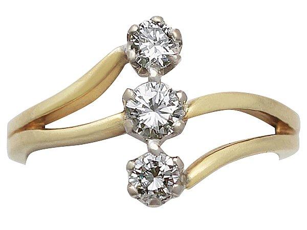 0.20 ct Diamond, 18 ct Yellow Gold Dress Ring - Art Nouveau Style - Contemporary[1]