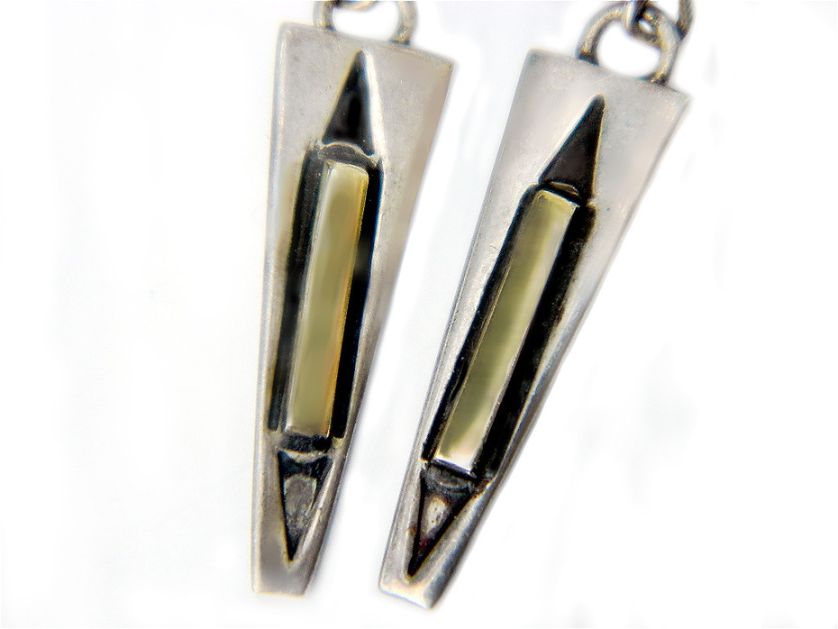 MM Rogers 14K Gold And Sterling Silver Navajo Earrings