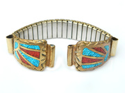 Native American Watch Band In Brass With Turquoise And Coral Chip Inlay