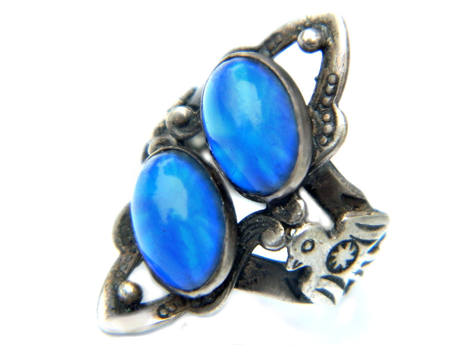 Fred Harvey Era Navajo Thunderbird Eagle Ring With Blue Star Sapphire Glass In Sterling Silver 1940's