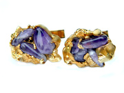 Gold Amethyst Cufflinks 10K Gold Overlay Nugget Style Vintage Accessory For Men