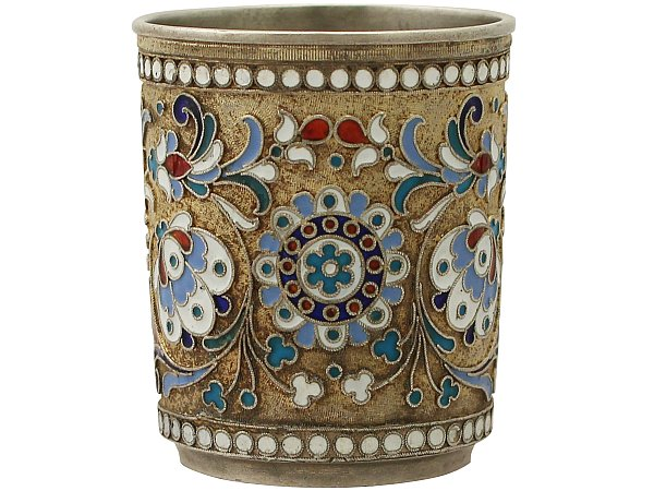 Russian Silver Gilt and Polychrome Cloisonné Enamel Vodka Cup / Beaker - Antique Circa 1905