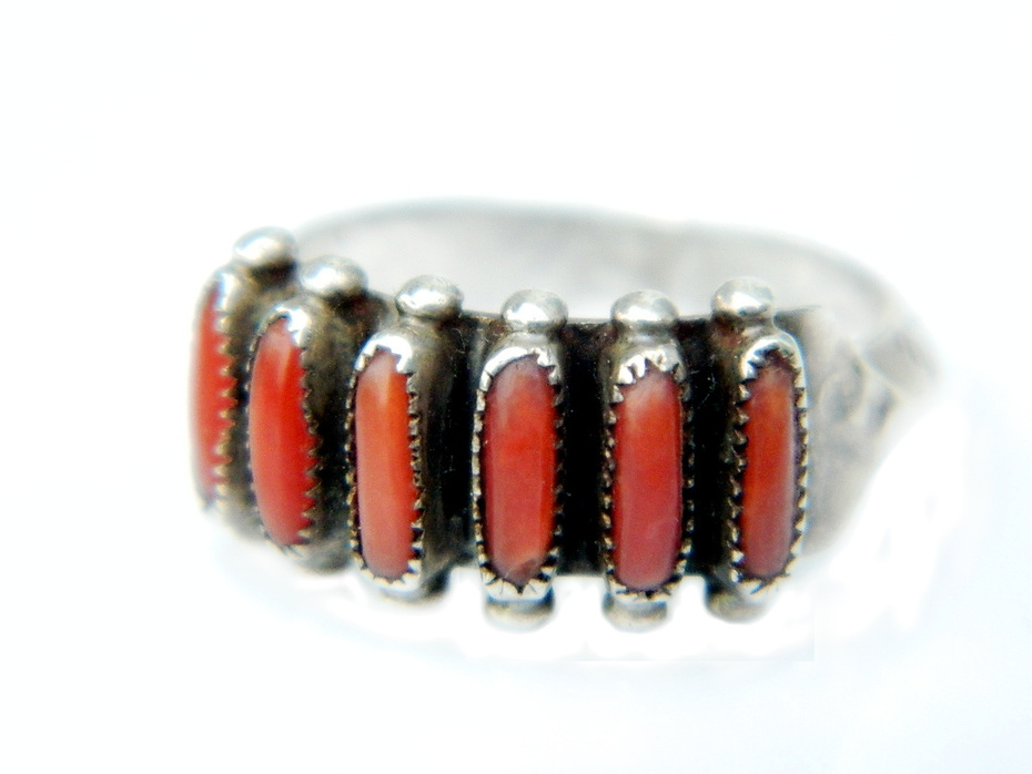 Janice Paloma Zuni Needlepoint Ring With Red Coral And Sterling Silver Native American Petit Point Jewelry