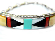 Signed Edaakie Zuni Bracelet Vintage Native American Turquoise Onyx And Red Coral In Sterling Silver