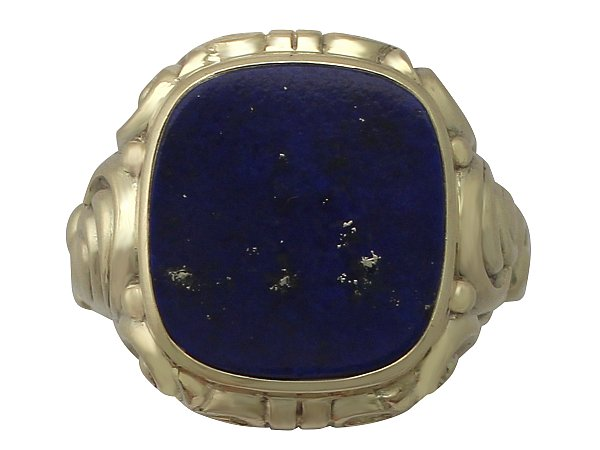 Lapiz Lazuli and 14 ct Yellow Gold Signet Ring - Vintage German Circa 1940