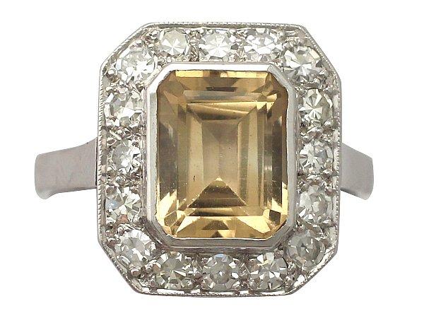3.62 ct Citrine and 1.23 ct Diamond, Platinum Dress Ring - Vintage French Circa 1940