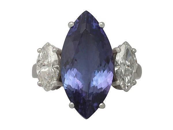 6.14 ct Tanzanite and 1.35 ct Diamond, 18 ct White Gold Dress Ring - Vintage Circa 1990