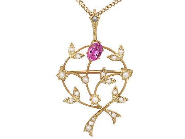 Pink Corundum and Pearl, 9 ct Yellow Gold Pendant / Brooch - Art Nouveau Style - Antique