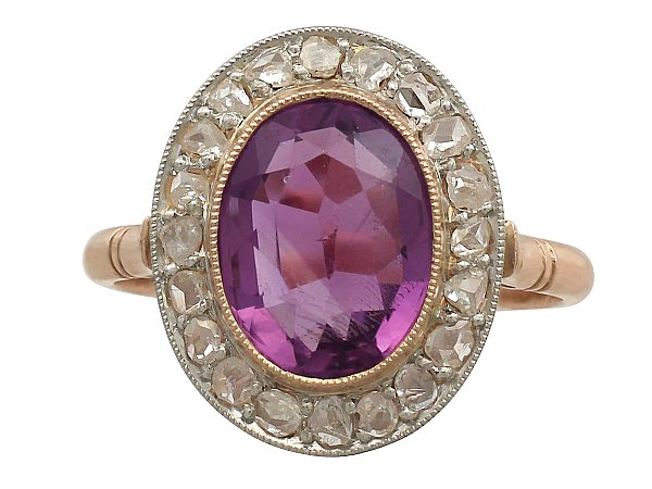 2.65 ct Amethyst and 0.38 ct Diamond, 15 ct Rose Gold Cluster Ring - Vintage Circa 1940