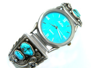 Navajo Watch Native American Jeff Largo or Larry Begay Sterling Silver Turquoise Feather Design