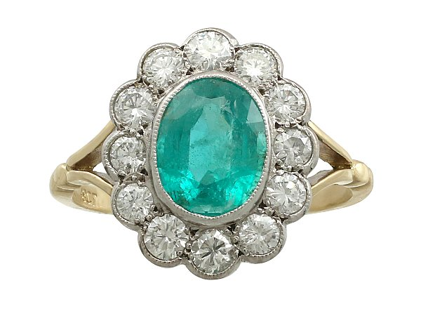 1.51 ct Emerald and 0.72 ct Diamond, 18 ct Yellow Gold Dress Ring - Circa 1960