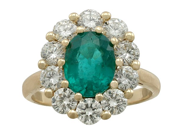 2.05 ct Emerald and 1.45 ct Diamond, 18 ct Yellow Gold Dress Ring - Vintage Circa 1970