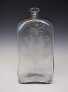 18th C. Free Form Blown, Etched Case Bottle