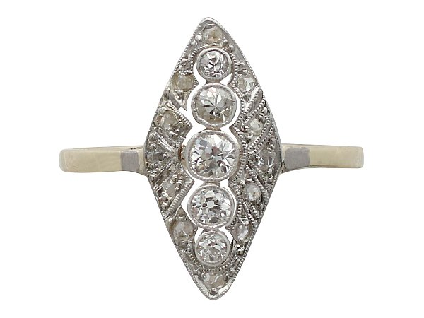 Antique 0.39 ct Diamond and 14 ct Yellow Gold Marquise Ring - Art Deco Style