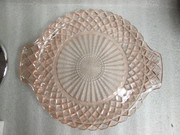 PINK DEPRESSION GLASS WATERFORD WAFFLE VANITY SERVING TRAY ART DECO CAKE PLATE