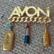 Vintage Avon Brooch Charms Gold Tone Representative Pin