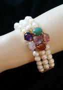 Gorgeous 1950's Pearls, Gemstones & 14K Gold Bracelet